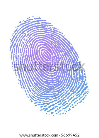 Very detailed Fingerprint in gradient color - stock photo