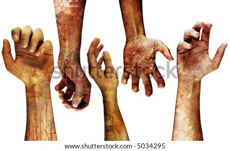 very detailed grungy hands isolated on white - stock photo