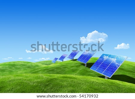 Very detailed 6000px field eco collection - Solar energy - stock photo