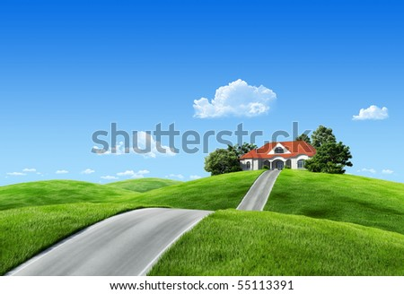 Very detailed 6000px house on green meadow - Nature collection - stock photo