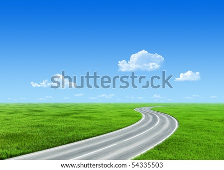 Very detailed 7000px road over grass field - nature collection - stock photo