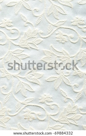 Very detailed wedding white fabric with floral pattern - stock photo