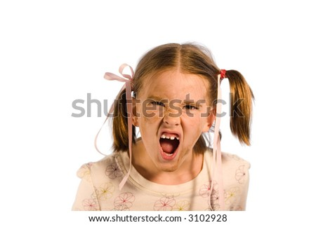 Very dirty young girl having a tantrum. Studio shot isolated on a white background. - stock photo