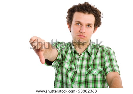 very disappointed young adult, showing his thumb down gesture, all isolated on white