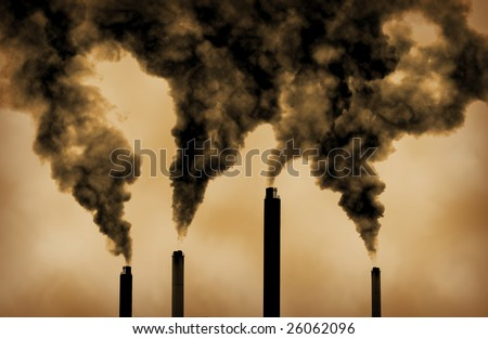 very dramatic image of global warming factory emissions - stock photo