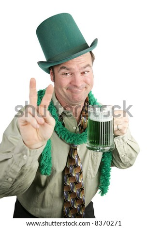Very drunk man on St Patrick's Day drinking beer and making a peace sign.  Isolated on white.