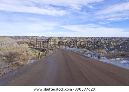 Very dry and arid view of the Badlands in Dinosaur Provincial park - stock photo