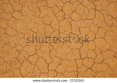 Very Dry Cracked Soil. Flat background. - stock photo
