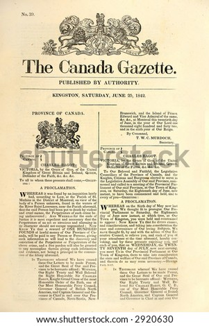 Very early Canadian newspaper of  1842. - stock photo