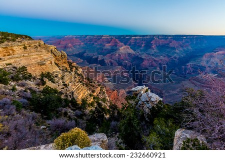 Very Early Morning Shot of the Magnificent Multi-colored Grand Canyon in Arizona - stock photo
