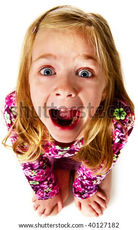 very emotional girl; closeup face - stock photo