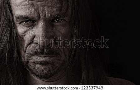 Very emotional Image of a depressed Evil man - stock photo
