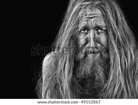 Very Emotional Portrait Of a bearded man On Black - stock photo