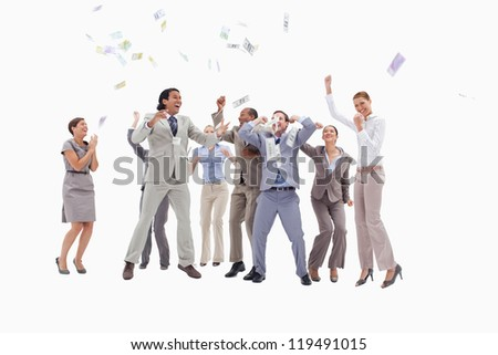 Very enthusiast people jumping and raising their arms with money falling from the sky against white background - stock photo