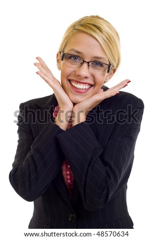 Very excited business woman holding her head in amazement. Isolated on white. - stock photo
