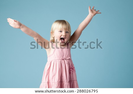 Very excited Cute Girl - stock photo