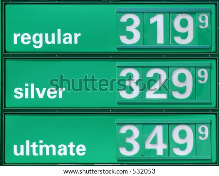 Very expensive gasoline prices. - stock photo