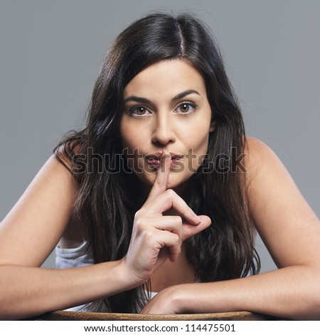 Very expressive young woman - stock photo