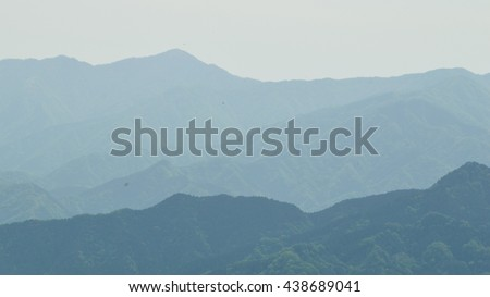 very foggy morning from the summit of takao mountain, japan  - stock photo