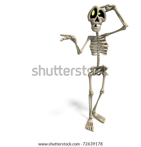 very funny cartoon skeleton. 3D rendering with clipping path and shadow over white - stock photo
