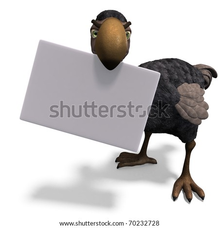 very funny toon Dodo-bird. 3D rendering with clipping path and shadow over white - stock photo