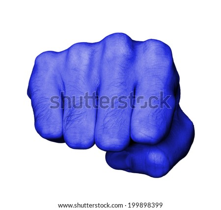 Very hairy knuckles from the fist of a man punching, blue skin - stock photo