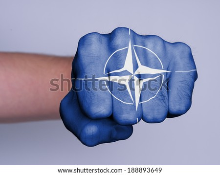 Very hairy knuckles from the fist of a man punching, NATO - stock photo