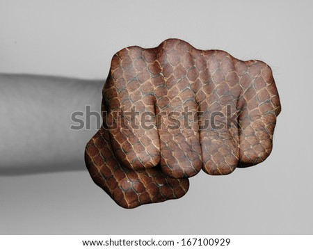Very hairy knuckles from the fist of a man punching, snake print - stock photo