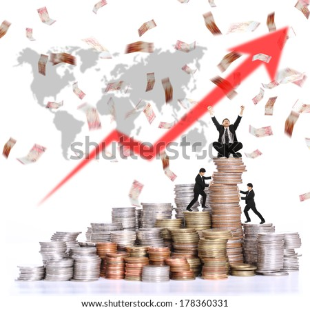 Very Happiness and sucessful with money growth their business  - stock photo