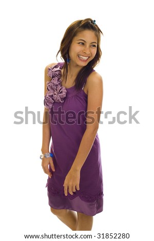 very happy asian woman, isolated on white