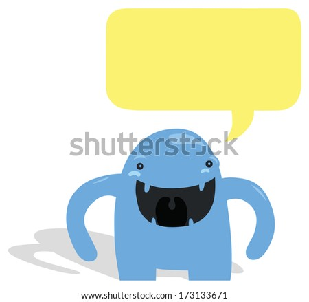 Very Happy Blue Monster with Yellow Speech Bubble - stock photo