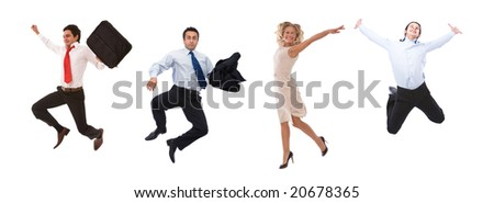 very happy business people jumping high with a smile - stock photo