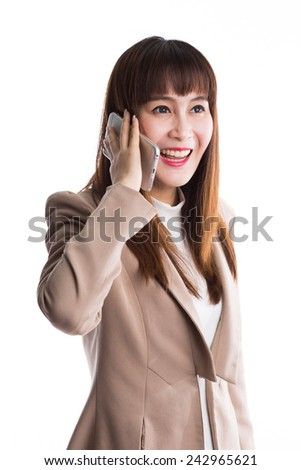 Very happy business woman talking on the mobile phone, isolated on white background