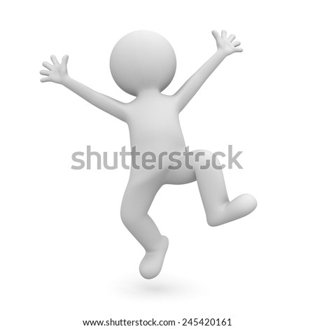 Very happy 3d man celebrating over white background