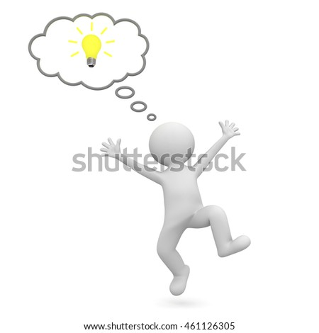 Very happy 3d man celebrating with idea bulb in thought bubble above his head isolated over white background. 3D rendering.