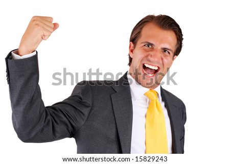 Very happy energetic businessman (isolated) - stock photo