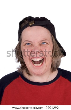 Very Happy female baseball fan with baseball hat and t-shirt, over white - stock photo