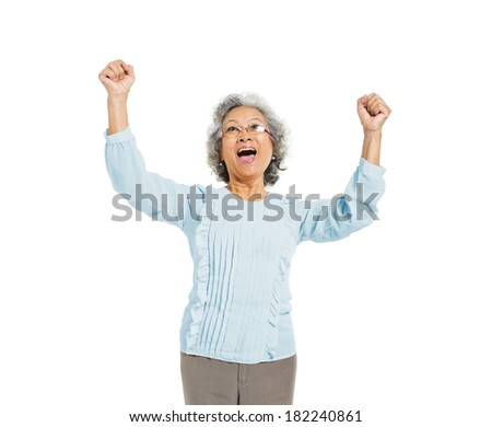 Very Happy Mature Asian Woman - stock photo