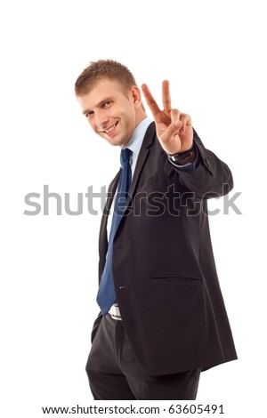 Very happy successful gesturing business man, isolated on white
