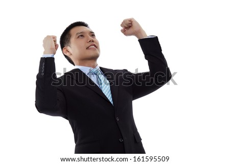 Very happy successful gesturing business man, isolated over white background