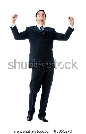 Very happy successful gesturing young business man, isolated on white background - stock photo