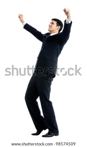 Very happy successful gesturing young business man, isolated over white background
