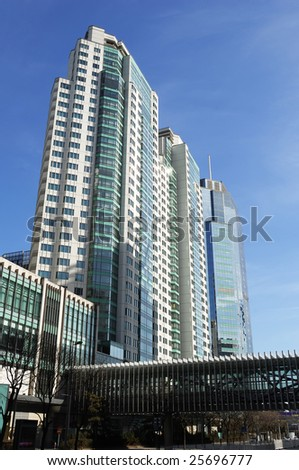 very high building in blue sky