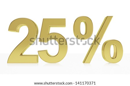 Very high quality rendering of a symbol for 25 % discount or gain with a subtle reflection. (series) - stock photo