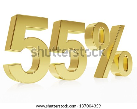 Very high quality rendering of a symbol for 55 % discount with a subtle reflection