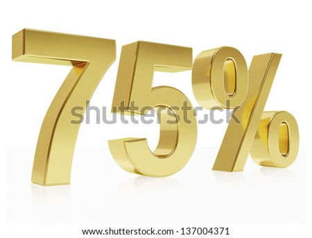 Very high quality rendering of a symbol for 75 % discount with a subtle reflection