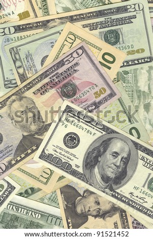 very high resolution background of different USA dollar banknotes