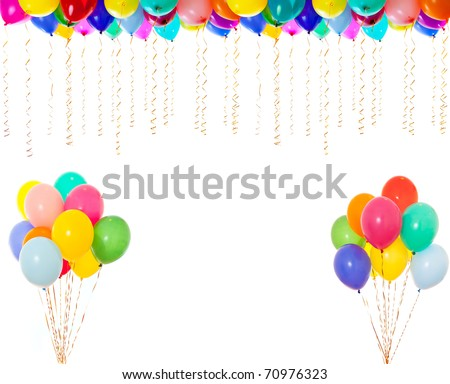 very high resolution colorful balloons isolated on white - stock photo