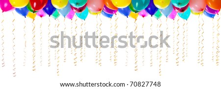 very high resolution colourful balloons isolated on white - stock photo