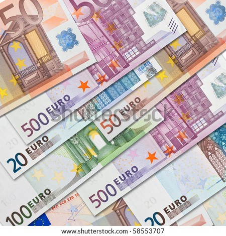 Very high resolution composition of many euro bank notes in square format - stock photo
